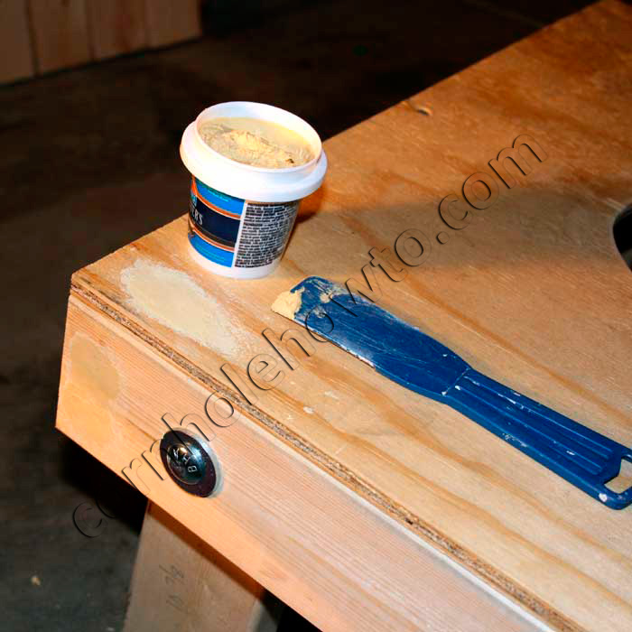 filling defects and holes with wood filler - Cornhole Design Ideas