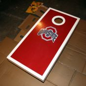 Cornhole table with decal.